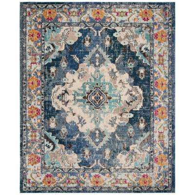 Monaco Navy Light Blue 8 Ft X 10 Area Rug