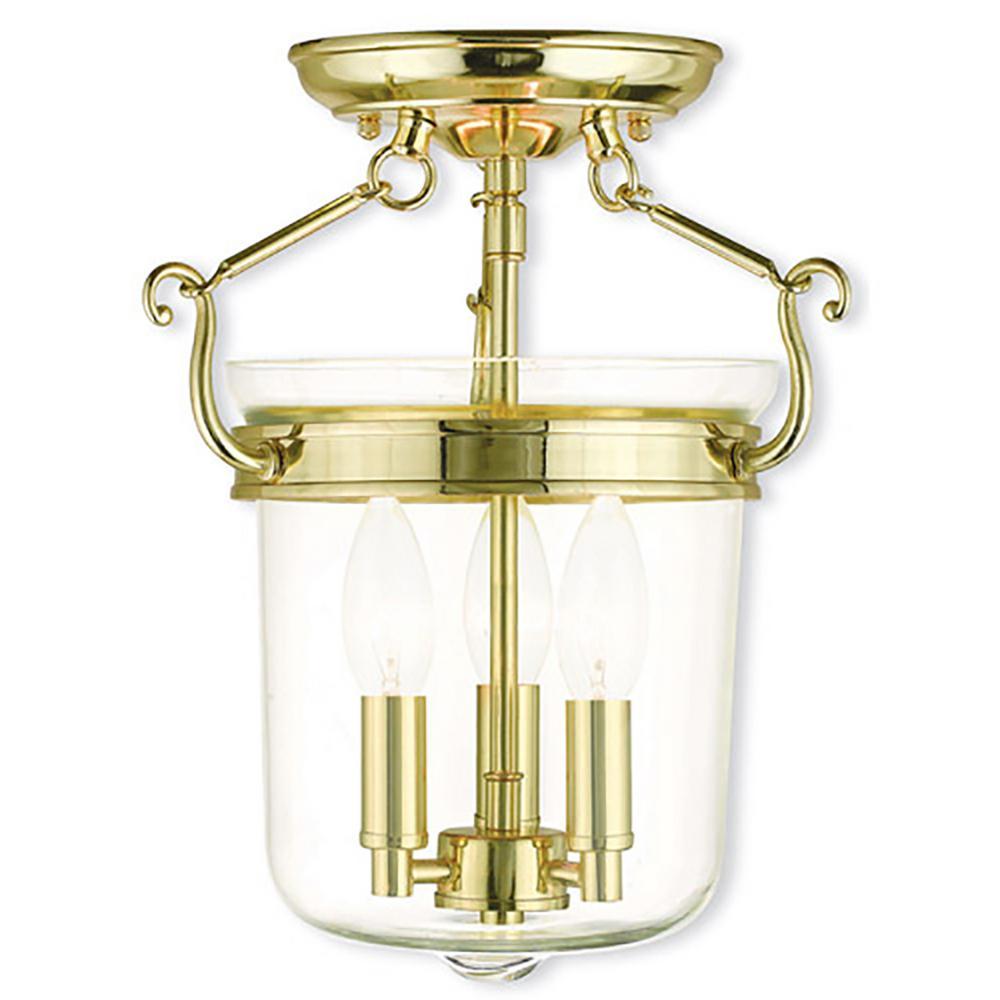 Rockford 3-Light Polished Brass Flushmount