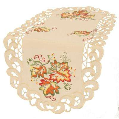 0.1 in. H x 16 in. W x 34 in. D Thankful Leaf Embroidered Cutwork Fall Table Runner