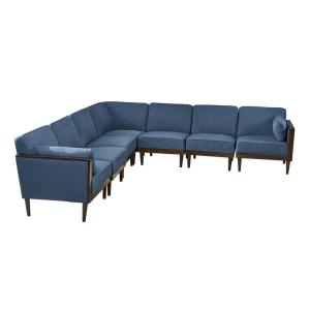 Pembroke Mid-Century Modern 7-Piece Navy Blue Fabric Sectional Sofa Set