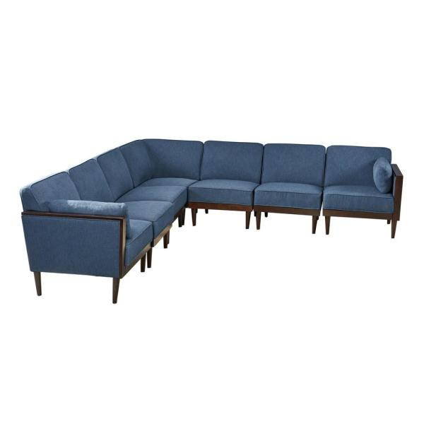 Pembroke Mid-Century Modern 7-Piece Navy Blue Fabric Sectional Sofa Set