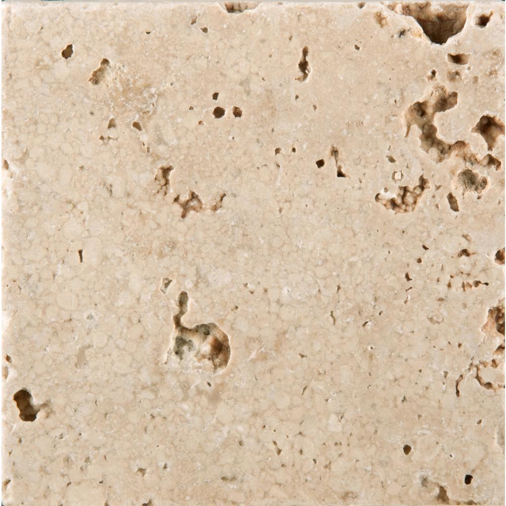 Trav Vino Tumbled Cream 3.86 in. x 3.86 in. Travertine Wall Tile