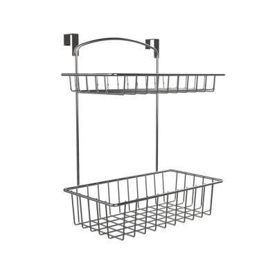 11.2 in. x 5.5 in. x 17 in. 2-Tier Over The Cabinet Extra Deep Storage Basket in Chrome