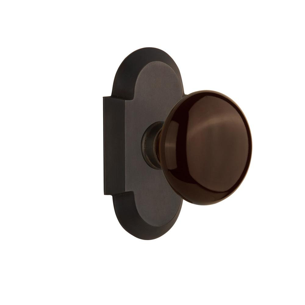 Cottage Plate 2-3/4 in. Backset Oil-Rubbed Bronze Passage Hall/Closet Brown