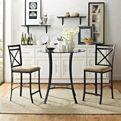 Valerie 3-Piece Black / Beige Counter Height Glass and Metal Dining Set