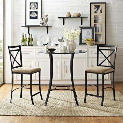 Valerie 3 Piece Black / Beige Counter Height Glass And Metal Dining Set