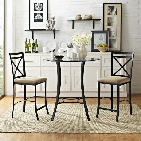 Dorel Living Valerie 3 Piece Black Beige Counter Height Glass And