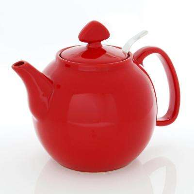 Tea for Four 6-Cups True Red Teapot with Stainless Steel Infuser