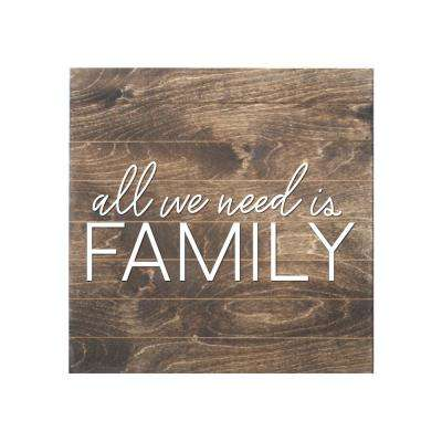 All We Need is Family Slat Board, BROWN/WHITE LETTERS, Memo Board