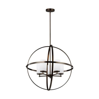 Alturas 27.25 in. W 5-Light Brushed Oil Rubbed Bronze Orb Chandelier with Etched White Glass Shades