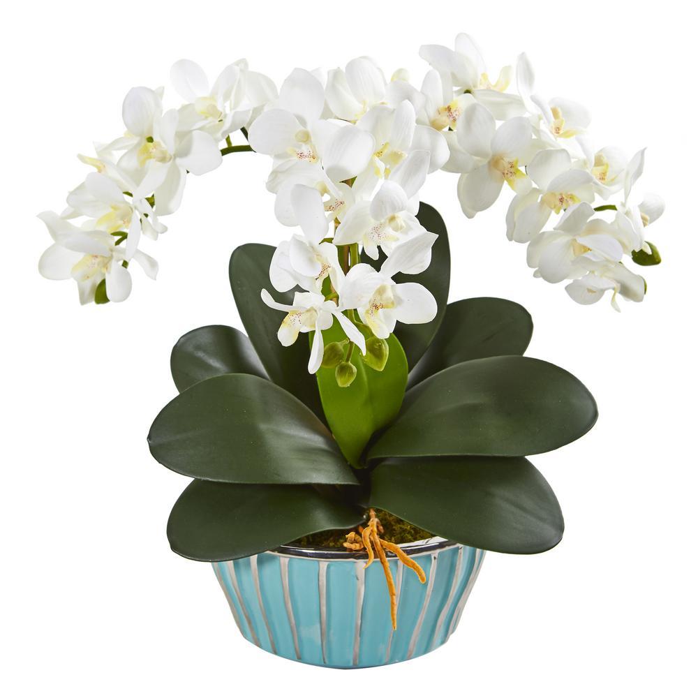 Phalaenopsis Orchid Artificial Arrangement in Designer Turquoise Vase
