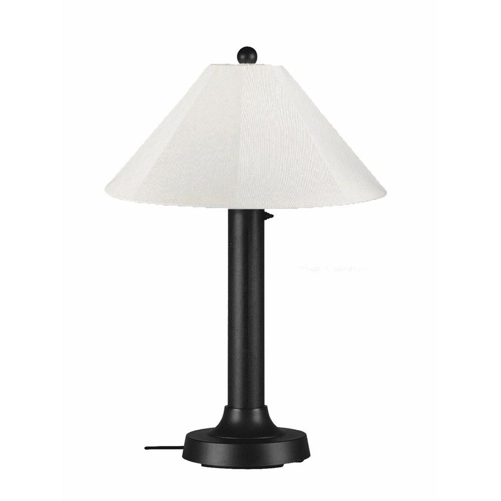 Patio Living Concepts Catalina 34 in. Black Outdoor Table Lamp with Natural Linen Shade