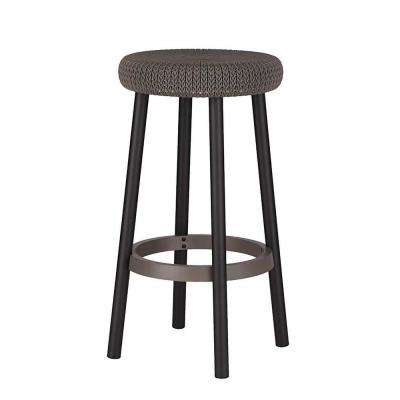 Cozy Resin Plastic Outdoor Bar Stool in Brown (2-Pack)