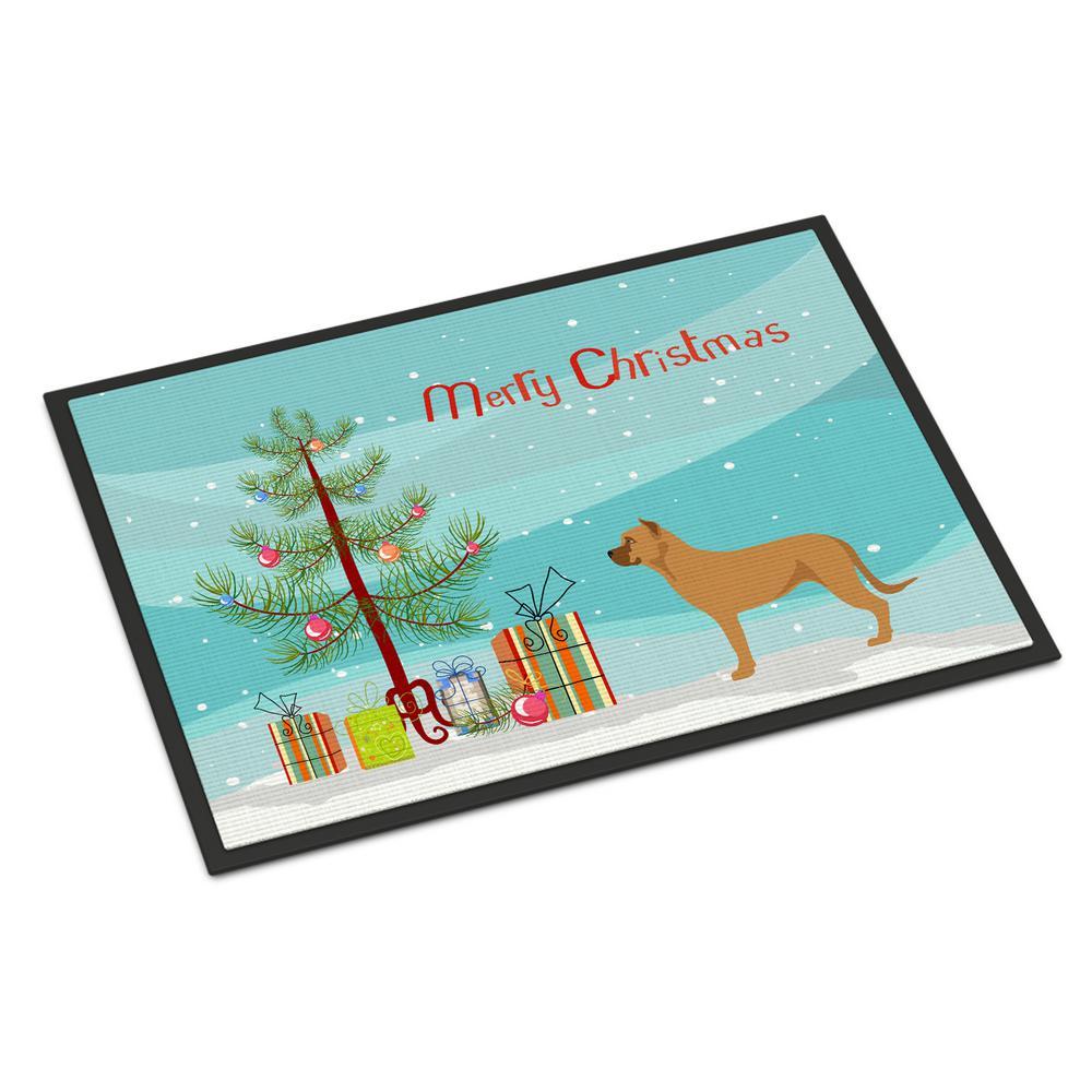 Caroline's Treasures 18 in. x 27 in. Indoor/Outdoor Alano Espanol Spanish Bulldog Christmas Door Mat