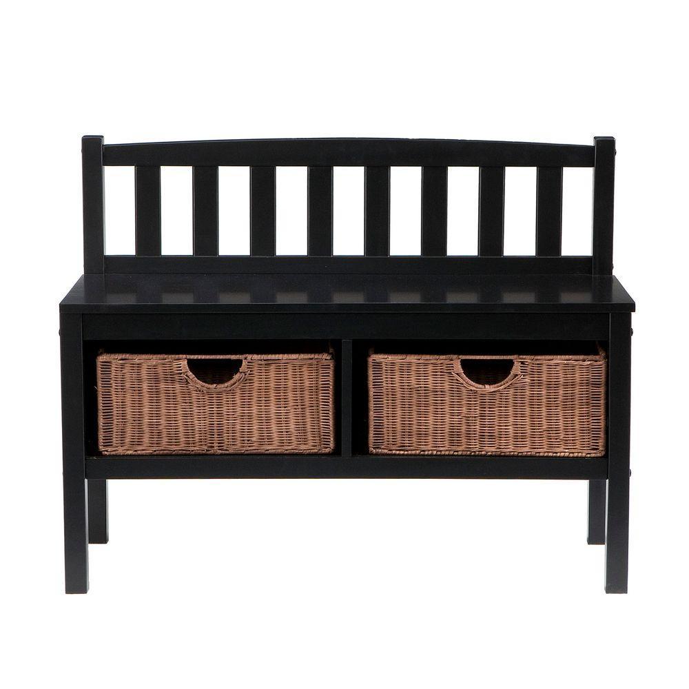 Home Decorators Collection 2-Basket Storage Bench in Black