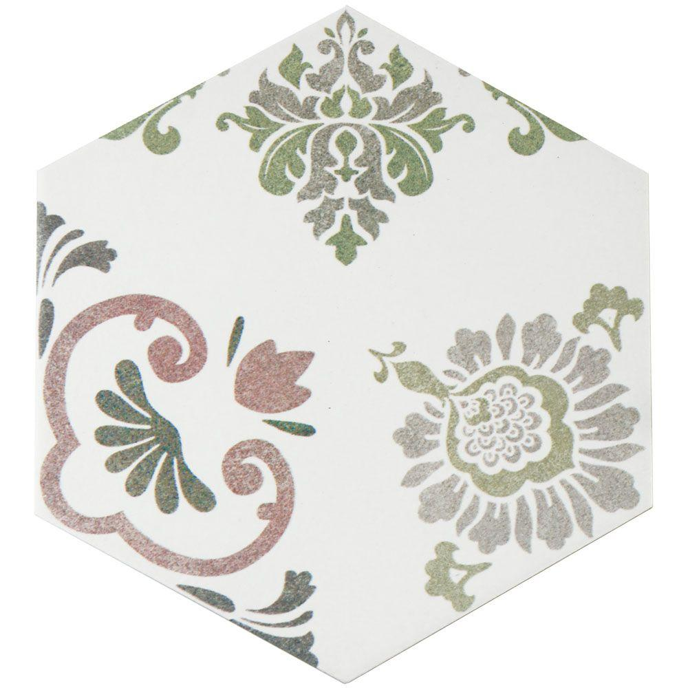 Fantasy Hex Pink 8-5/8 in. x 9-7/8 in. Porcelain Floor and