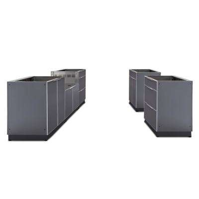 Slate Gray 5-Piece 192 in. W x 36.5 in. H x 24 in. D Outdoor Kitchen Cabinet Set