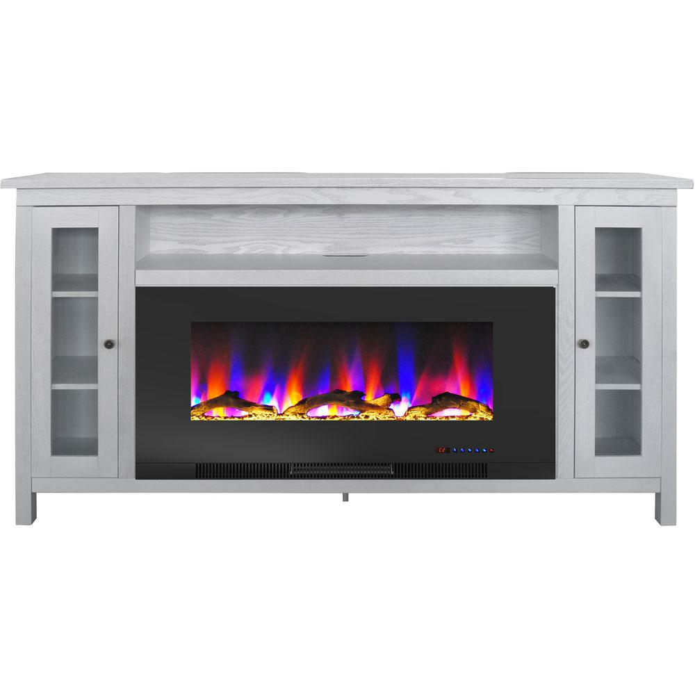 Cambridge Somerset 70 In White Electric Fireplace Tv