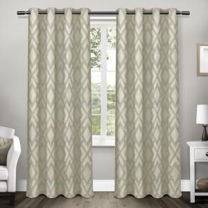 Easton Taupe Jacquard Blackout Grommet Top Window Curtain