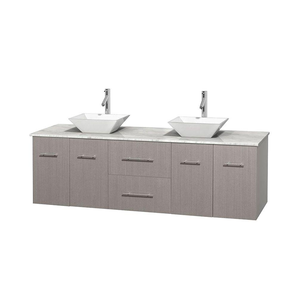 Wyndham Collection Centra 72 in. Double Vanity in Gray Oak with Marble Vanity Top in Carrara White and Porcelain Sinks