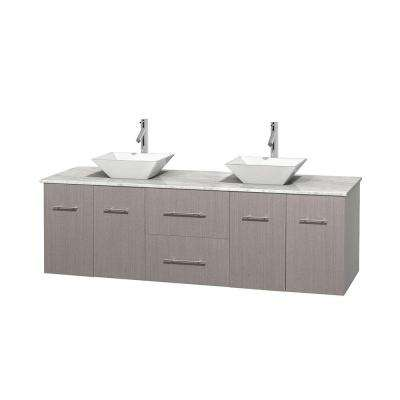 Centra 72 in. Double Vanity in Gray Oak with Marble Vanity Top in Carrara White and Porcelain Sinks