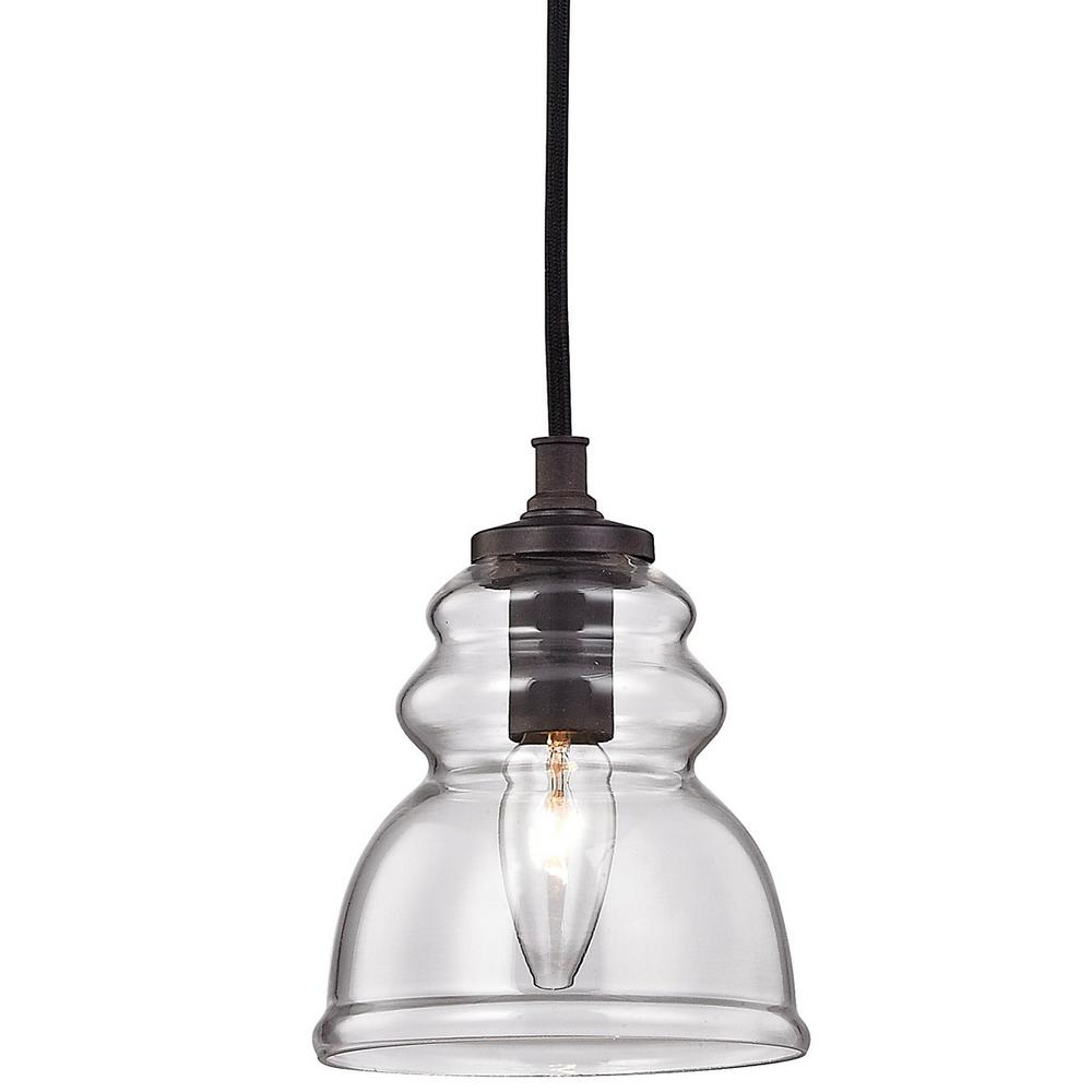 Fifth And Main Lighting 1 Light Antique Bronze Mini Pendant With Clear Glass Shade Hd 1137 The