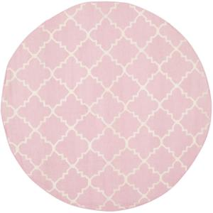 Safavieh Dhurries Pink/Ivory 6 ft. x 6 ft. Round Area Rug by Safavieh