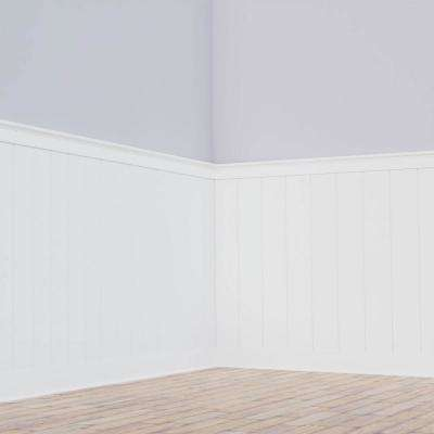 5/8 in. x 96 in. x 56 in. PVC Deluxe Shiplap Nickel Wainscoting Moulding Kit (for Heights up to 57-5/8 in.)