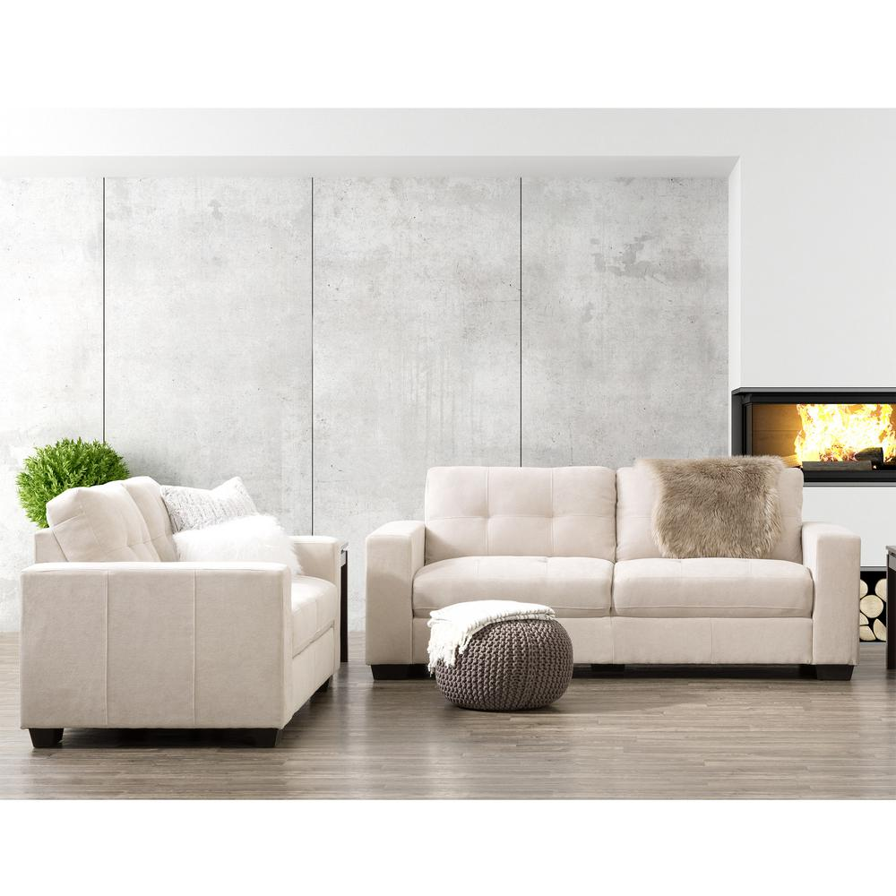 Corliving Club 2 Piece Tufted Beige Chenille Fabric Sofa Set Lzy 161