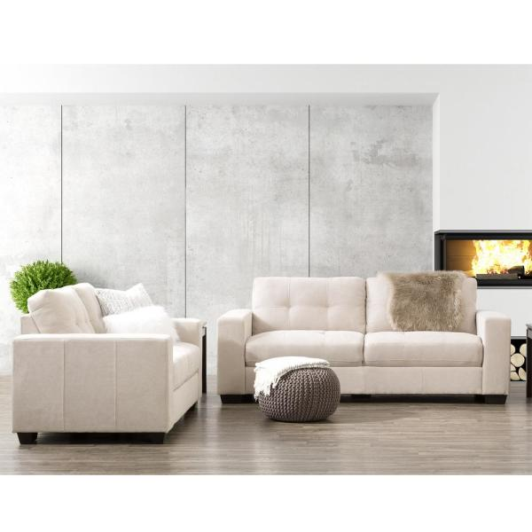 CorLiving Club 2-Piece Tufted Beige Chenille Fabric Sofa Set LZY-161-Z2