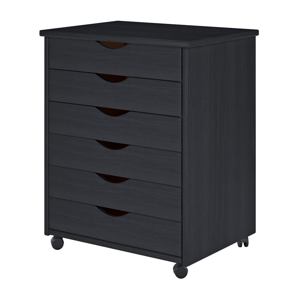 Black 6-Drawer Cart Wide Roll