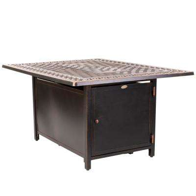 Meerin 48 in. x 24 in. Rectangle Aluminum LPG Fire Pit Table in Antique Bronze