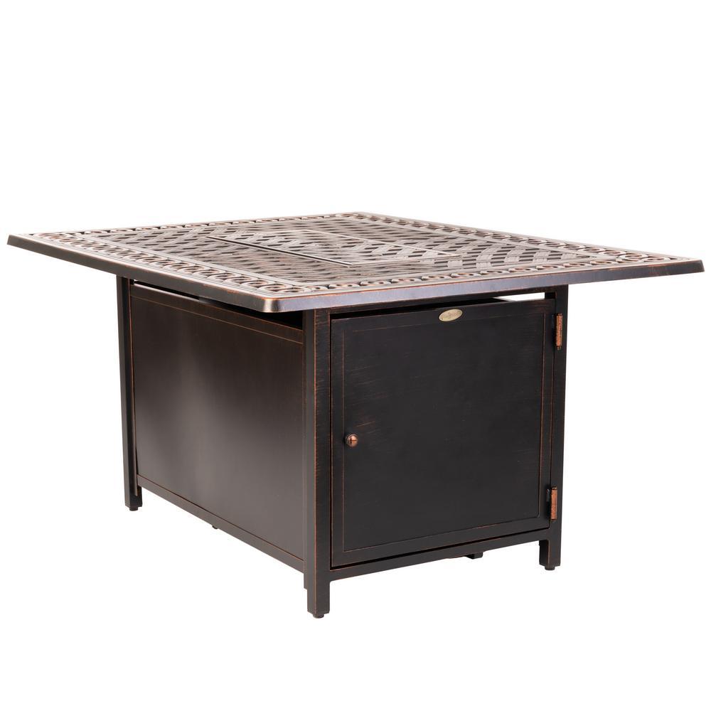 Meerin 48 in. x 24 in. Rectangle Aluminum LPG Fire Pit Table in Antique Bronze
