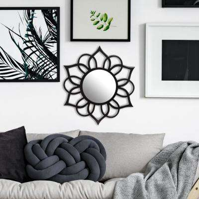 Ornate Accent Round Black Wall Mirror