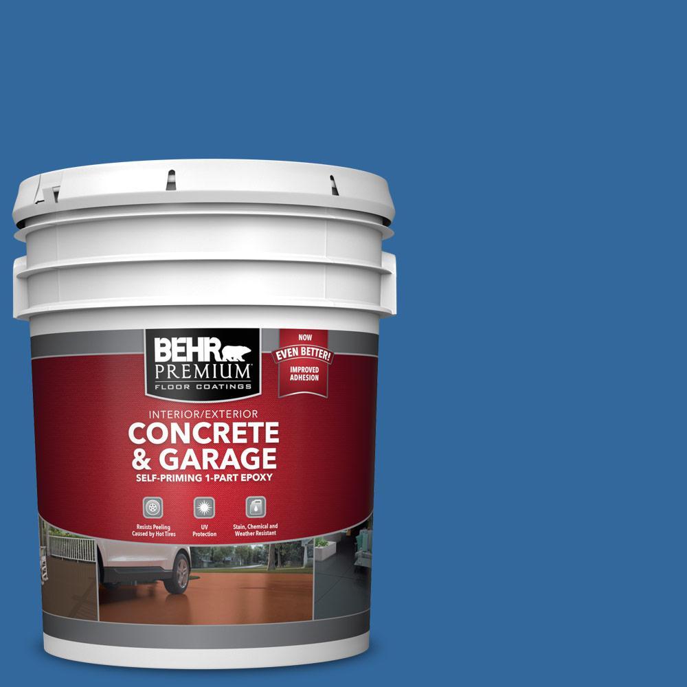 BEHR PREMIUM 5 gal. #P500-7 Cosmic Cobalt Self-Priming 1-Part Epoxy Satin Interior/Exterior Concrete and Garage Floor Paint