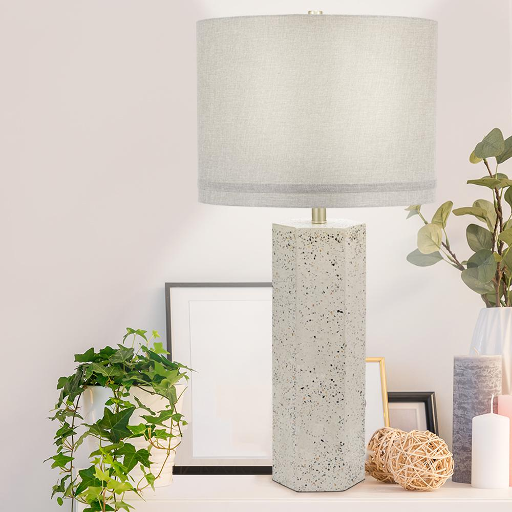 Cresswell 32 5 In Speckled Gray Terrazzo Contemporary Column Table Lamp And Led Bulb