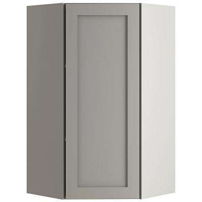Cambridge Assembled 23.64x42.01x11.75 in. Corner Wall Cabinet in Gray