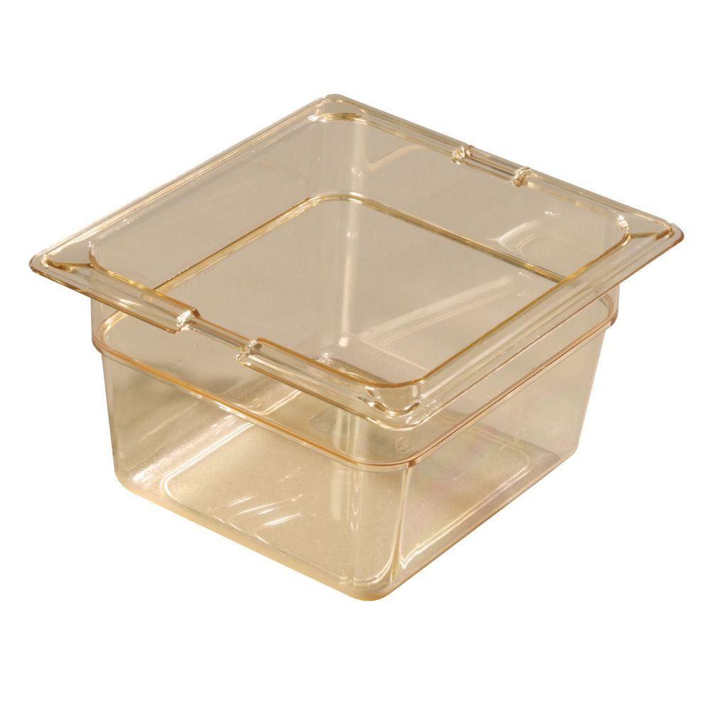 Carlisle 1/6 Size, 1.70 qt., 4.0 in. D High Heat Plastic Food Pan in Amber, Lid not Included (Case of 6)