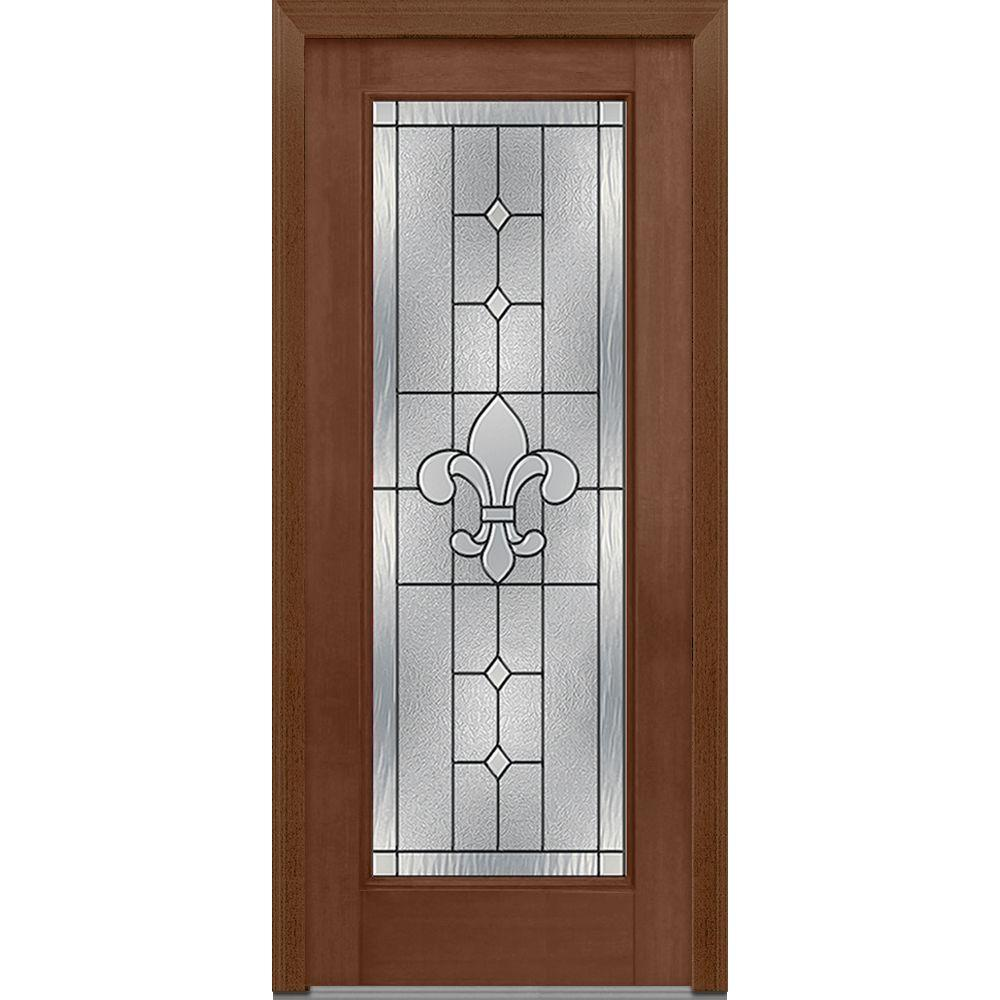 Mmi door 33 5 in x in carrollton decorative glass for Mahogany exterior door