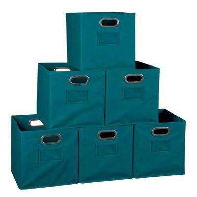 Cheer 12 in. D x  12 in. W x 12 in. H Teal Folding Fabric Bin Closet System (6-Pack)