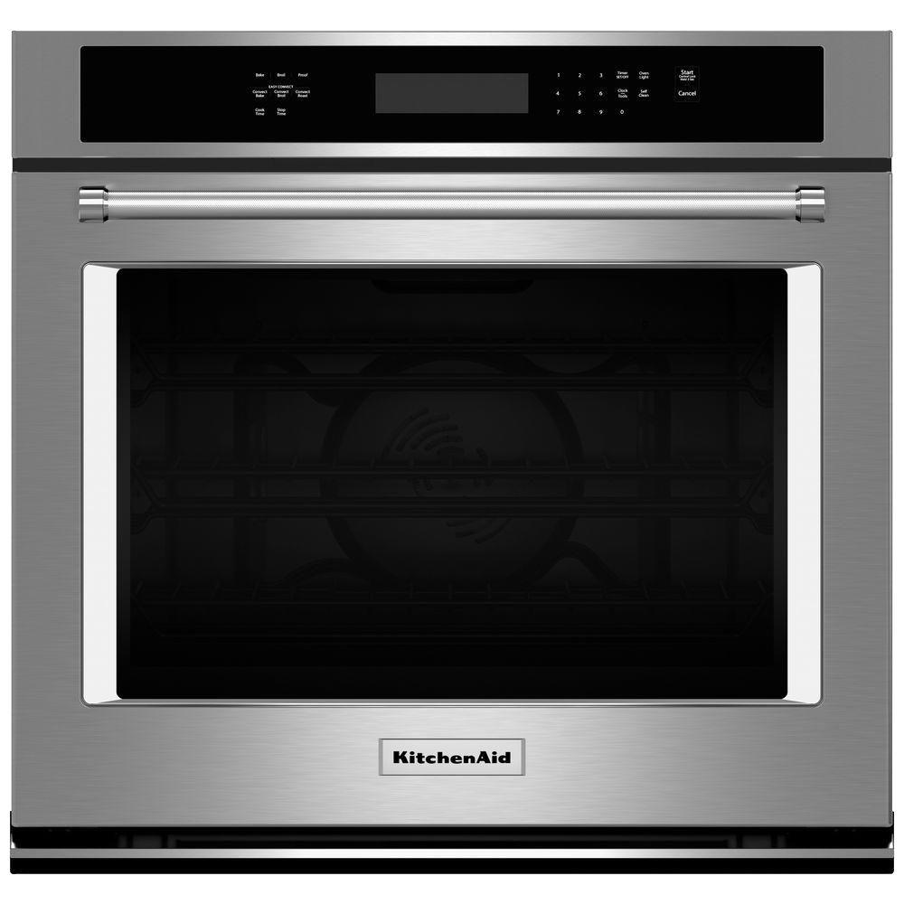 stainless steel kitchenaid single electric wall ovens kose500ess 64_1000 kitchenaid 30 in single electric wall oven self cleaning with  at soozxer.org