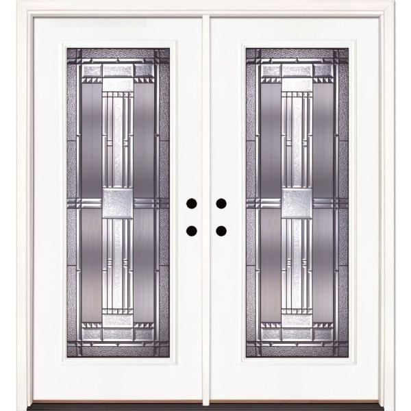 74 in. x 81.625 in. Preston Patina Full Lite Unfinished Smooth Right-Hand Inswing Fiberglass Double Prehung Front Door