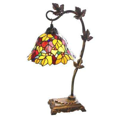 23 in. Red Indoor Table Lamp with Stained Glass Floral Shade