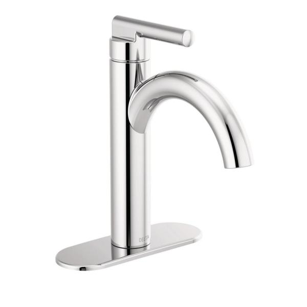 Nicoli J-Spout Single Hole Single-Handle Bathroom Faucet in Chrome