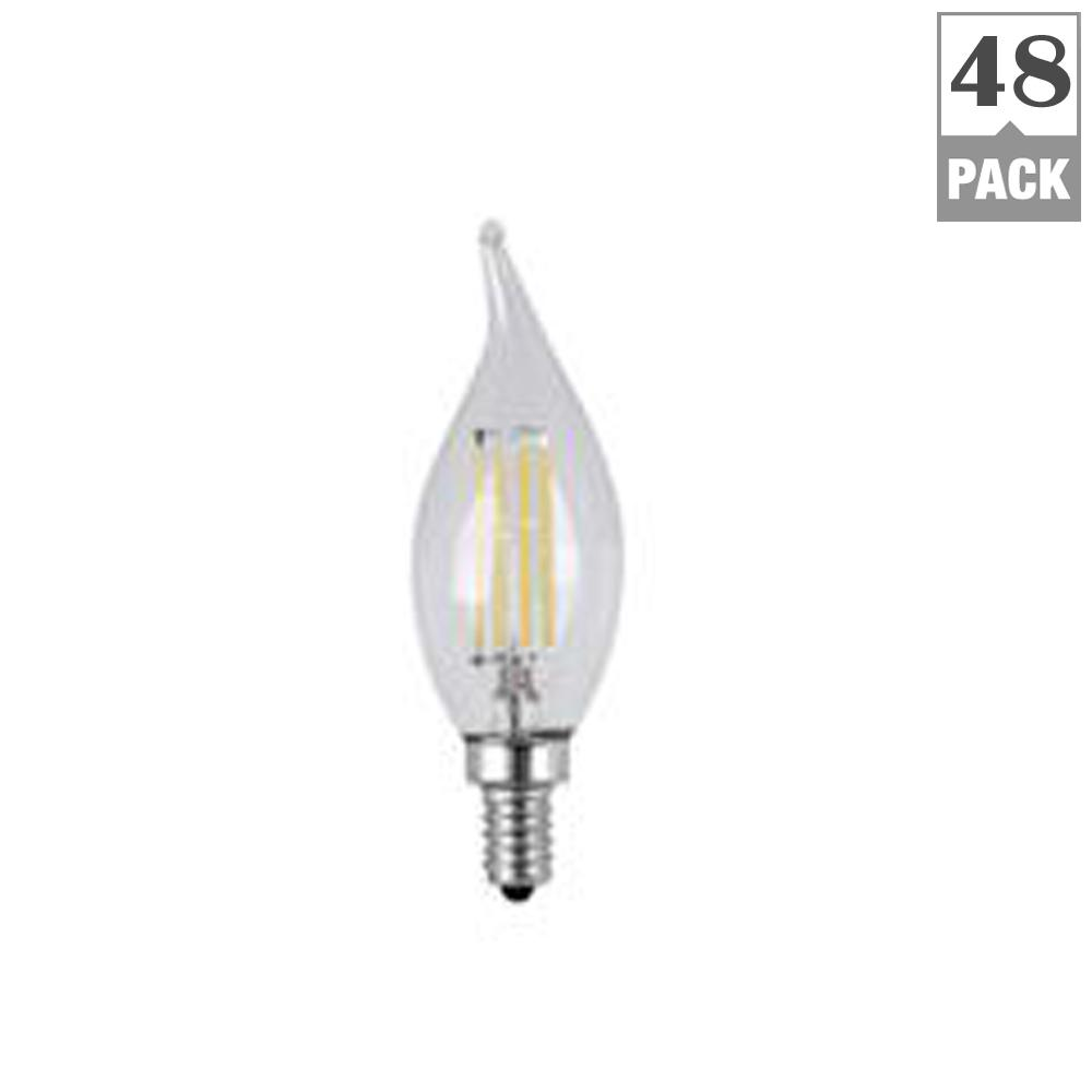 40W Equivalent Soft White CA10 Dimmable Clear Filament LED Candelabra Base