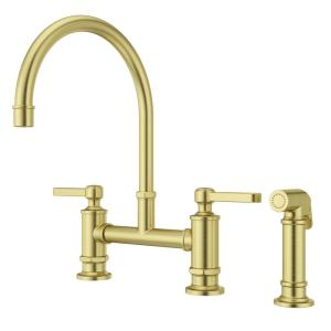 Port Haven 2-Handle Bridge Kitchen Faucet in Brushed Gold with Optional Side Sprayer