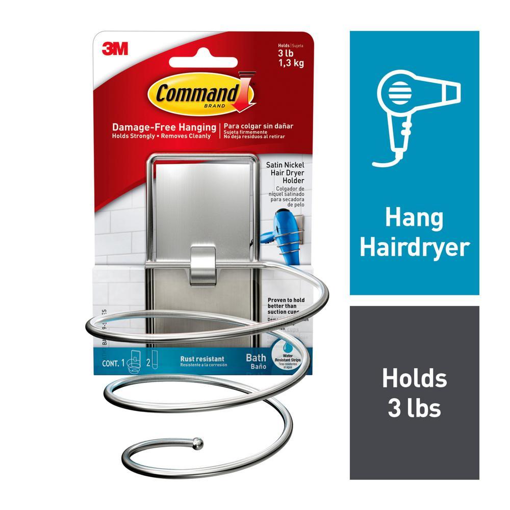 Satin Nickel Hair Dryer Holder with Water-Resistant Strip (1-Holder) (2-Water Resistant Strips)