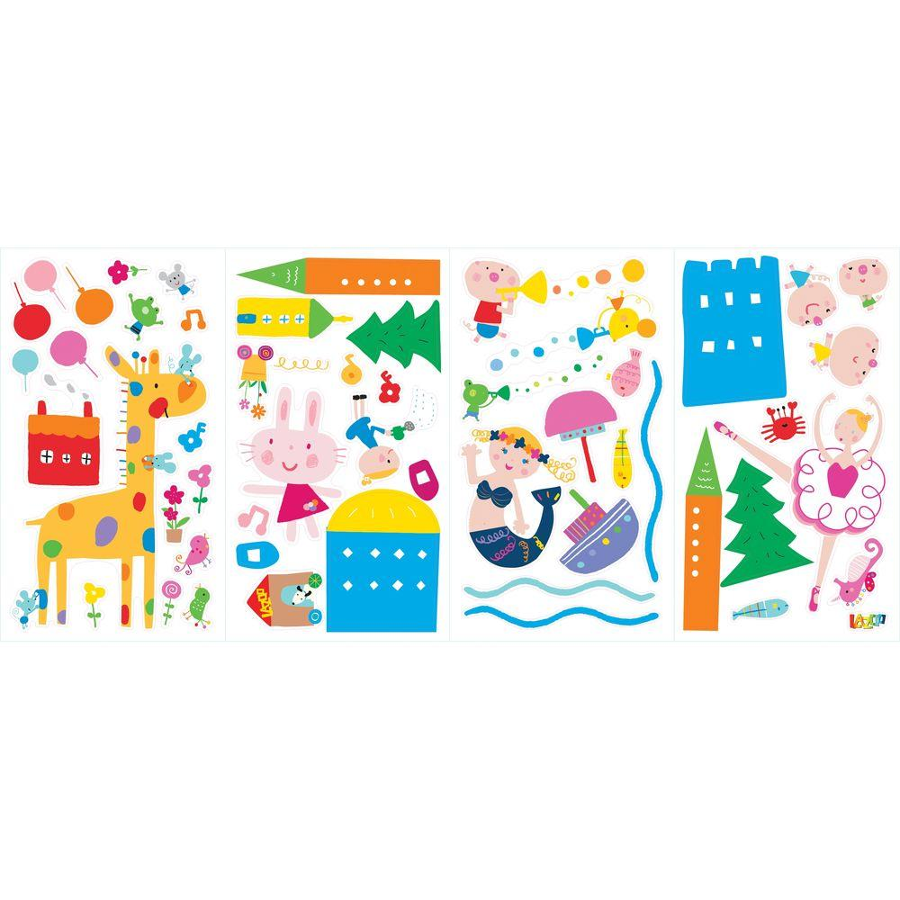 null 5 in. x 11.5 in. Lazoo Girl Peel and Stick Wall Decals