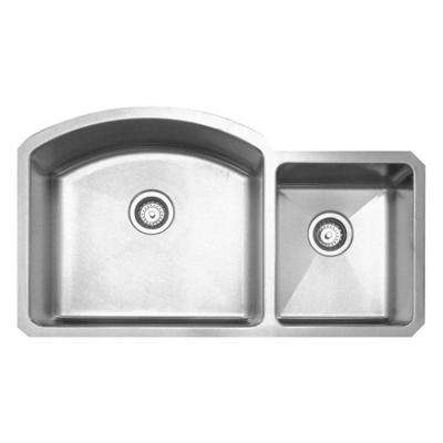 Noah's Collection Undermount Brushed Stainless Steel 36-7/8 in. 0-Hole Double Basin Kitchen Sink