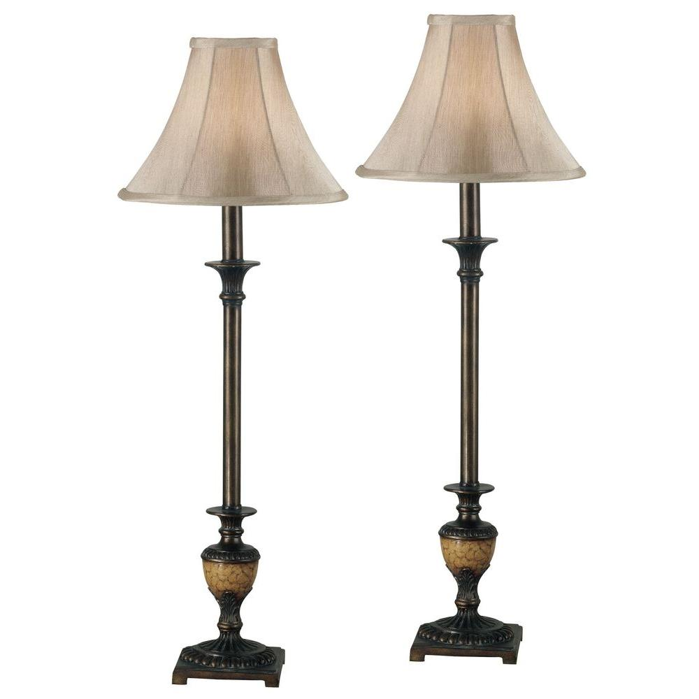 Kenroy Home Emily 30 In Crackled Bronze Buffet Lamp Set 2 Pack